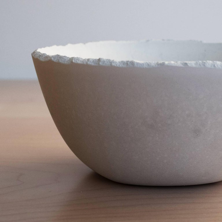 Handmade Cast Concrete Bowl in White by UMÉ Studio For Sale 1