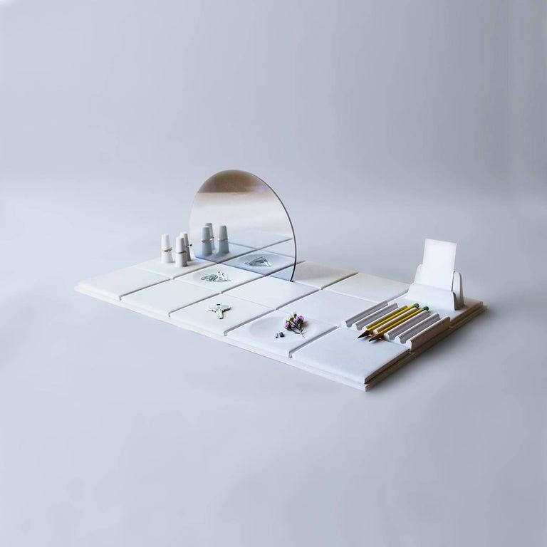 Salle de Bain 'L' Handmade Cast Concrete Tray in White by UMÉ Studio In New Condition For Sale In Oakland, CA