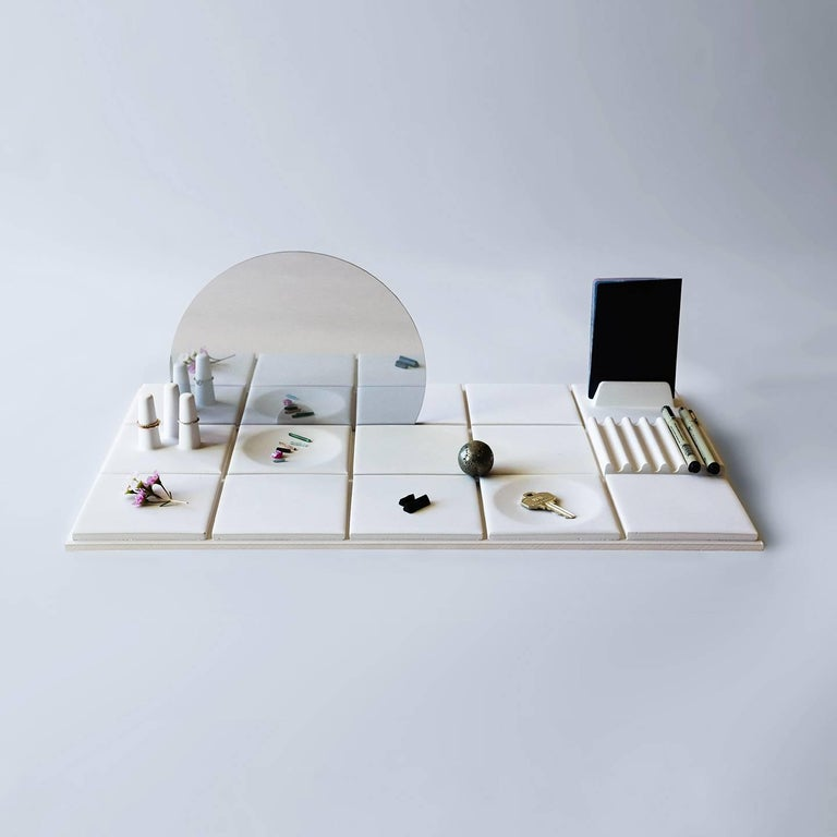 American Salle de Bain 'L' Handmade Cast Concrete Tray in White by UMÉ Studio For Sale