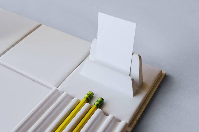 Contemporary Salle de Bain 'L' Handmade Cast Concrete Tray in White by UMÉ Studio For Sale