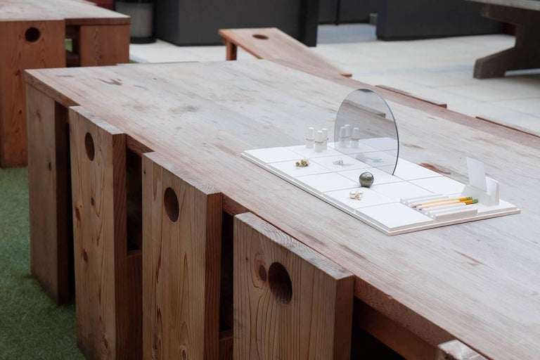 Salle de Bain 'L' Handmade Cast Concrete Tray in White by UMÉ Studio For Sale 3