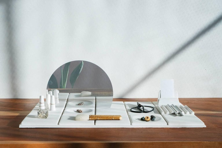 Salle de Bain 'L' Handmade Cast Concrete Tray in White by UMÉ Studio For Sale 2
