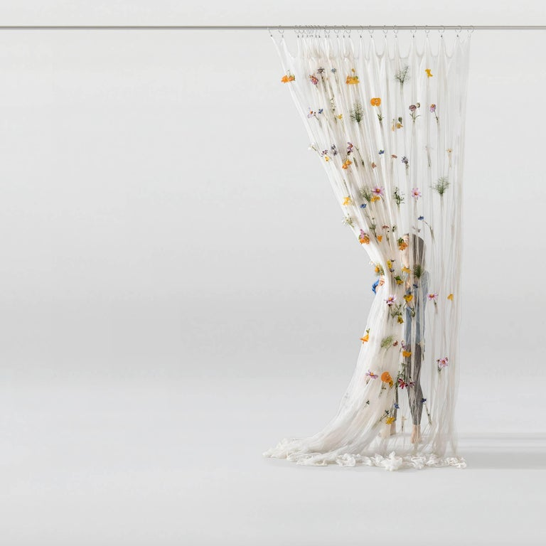 Japanese Draped Flowers, Paper Thread Curtain to Hold Fresh Flowers by UMÉ Studio For Sale
