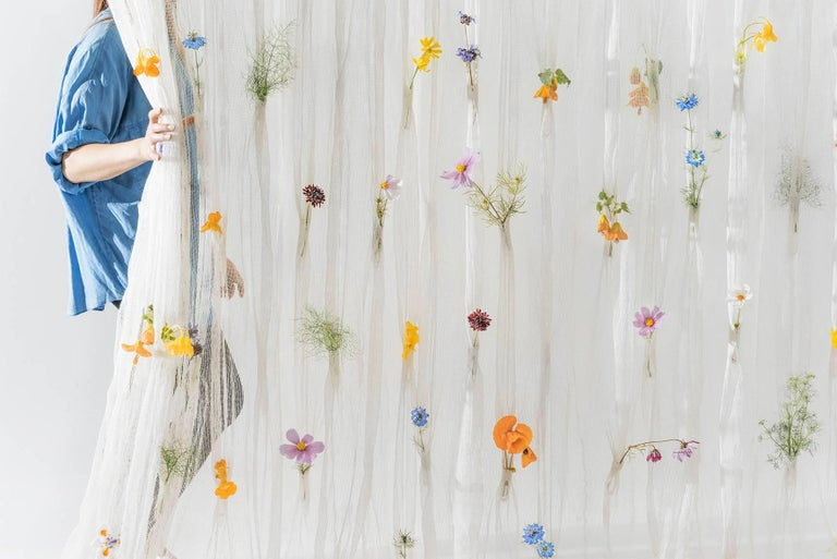 Draped Flowers, Paper Thread Curtain to Hold Fresh Flowers by UMÉ Studio In New Condition For Sale In Oakland, CA
