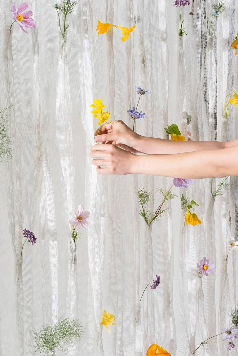 Contemporary Draped Flowers, Paper Thread Curtain to Hold Fresh Flowers by UMÉ Studio For Sale