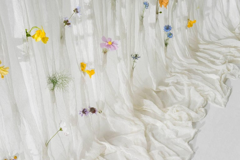 Draped Flowers, Paper Thread Curtain to Hold Fresh Flowers by UMÉ Studio For Sale 1