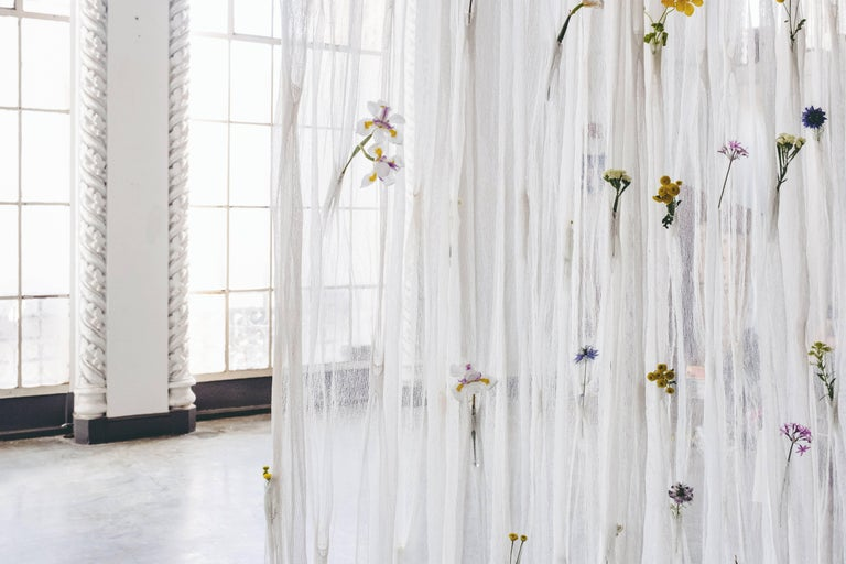 Draped Flowers, Paper Thread Curtain to Hold Fresh Flowers by UMÉ Studio For Sale 3
