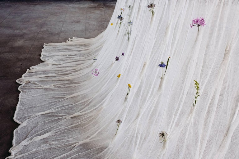 Draped Flowers, Paper Thread Curtain to Hold Fresh Flowers by UMÉ Studio For Sale 2