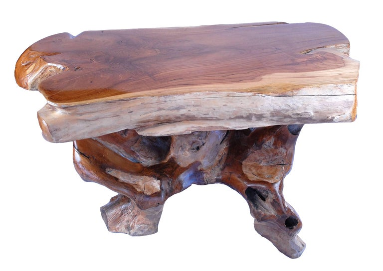 Sustainably harvested teak coffee table and base.