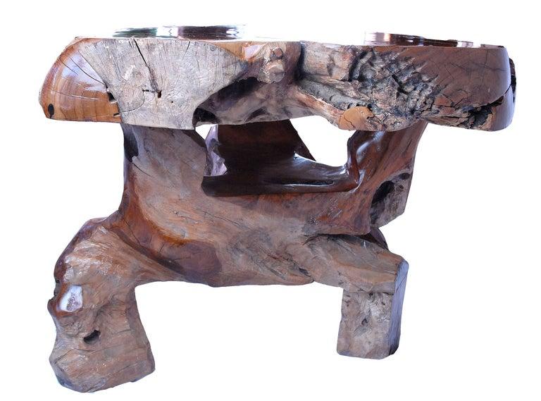 Hand-Carved Teak Coffee Table For Sale