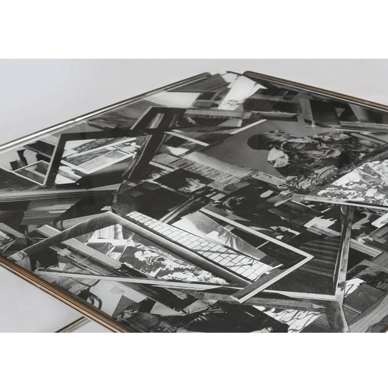 Modern Contemporary 'Templetonian' Coffee Table With Collage Design Glass Top For Sale