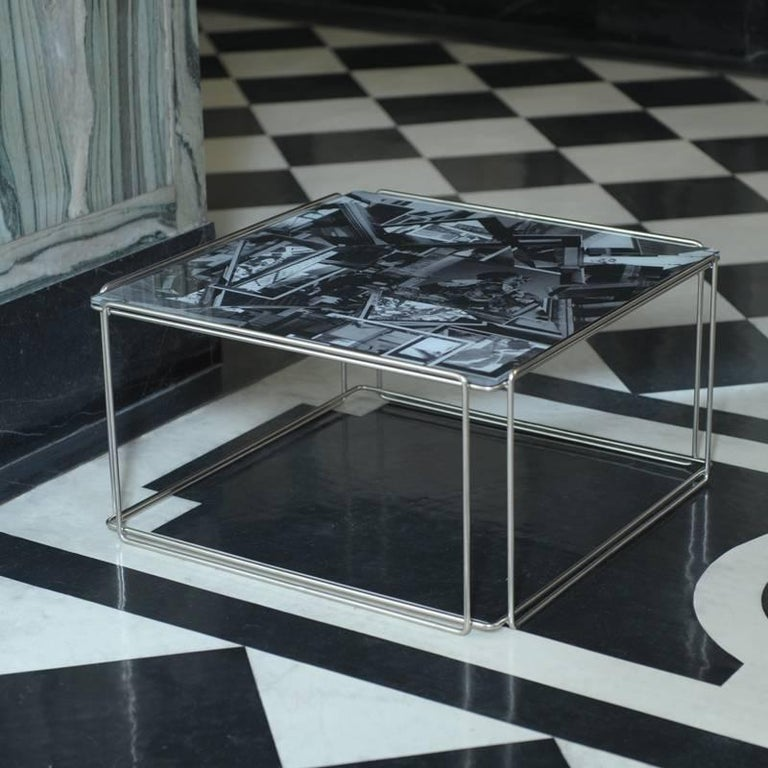 Chamfered Contemporary 'Templetonian' Coffee Table With Collage Design Glass Top For Sale