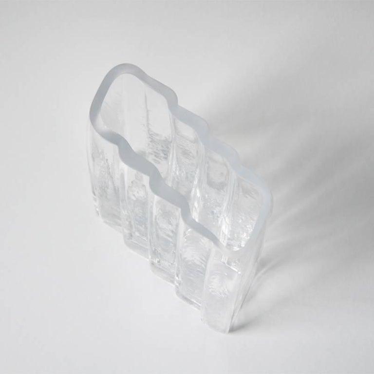 Minimalist Contemporary Handblown Clear Glass Vase  For Sale