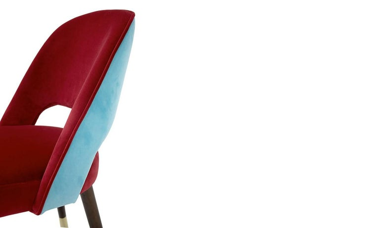 Contemporary Red and Turquoise Velvet with Brass Sabots Dining Chair La Habana For Sale