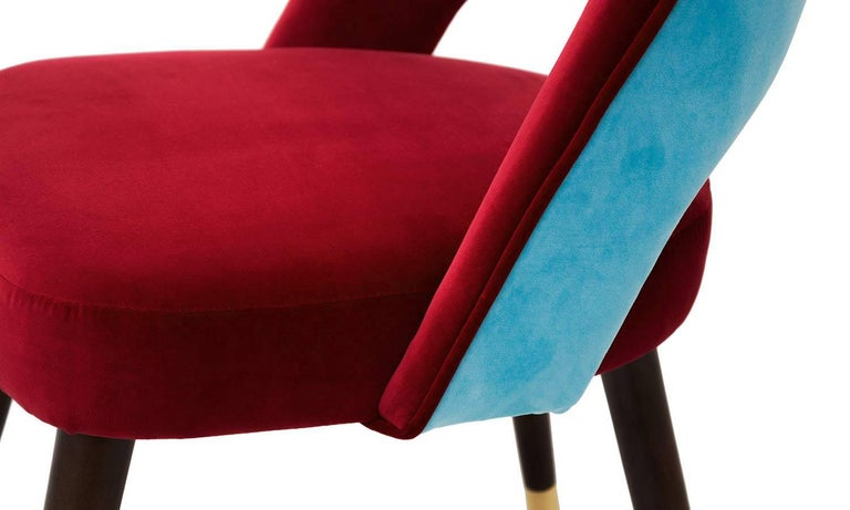 Red and Turquoise Velvet with Brass Sabots Dining Chair La Habana In New Condition For Sale In Madrid, ES