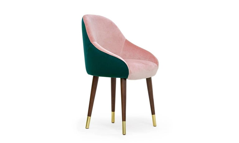 Modern Pink and Green Emerald Velvet with Brass Sabots Dining Chair Milonga For Sale