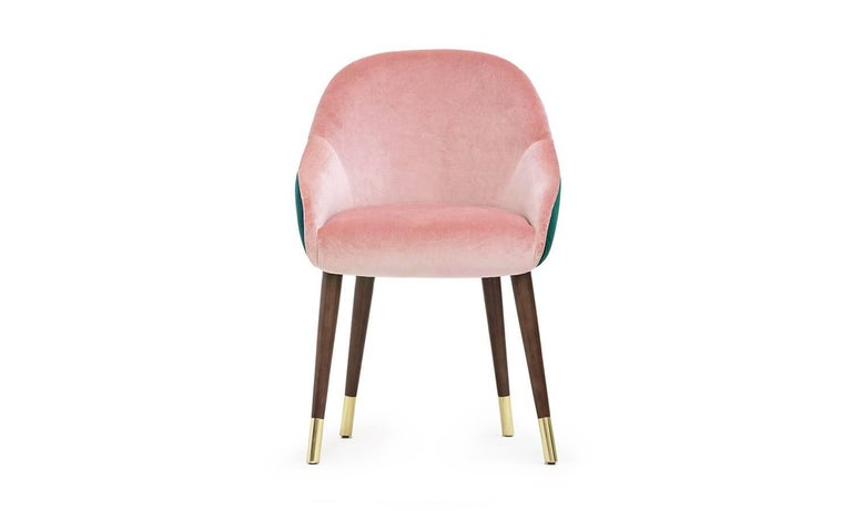 European Pink and Green Emerald Velvet with Brass Sabots Dining Chair Milonga For Sale