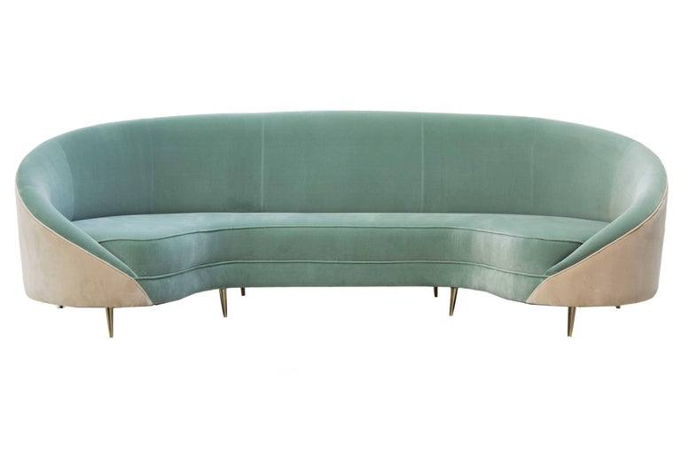 Mid-Century Modern 1950s Style Velvet and Brass Feet Curved Sofa Beverly For Sale