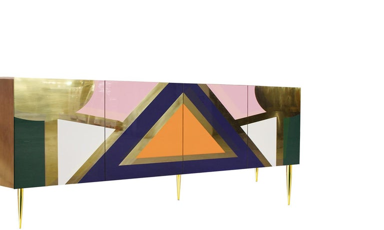 Hollywood Regency Hollywood Style High Gloss Lacquered Wood and Brass Sideboard Yucatan For Sale