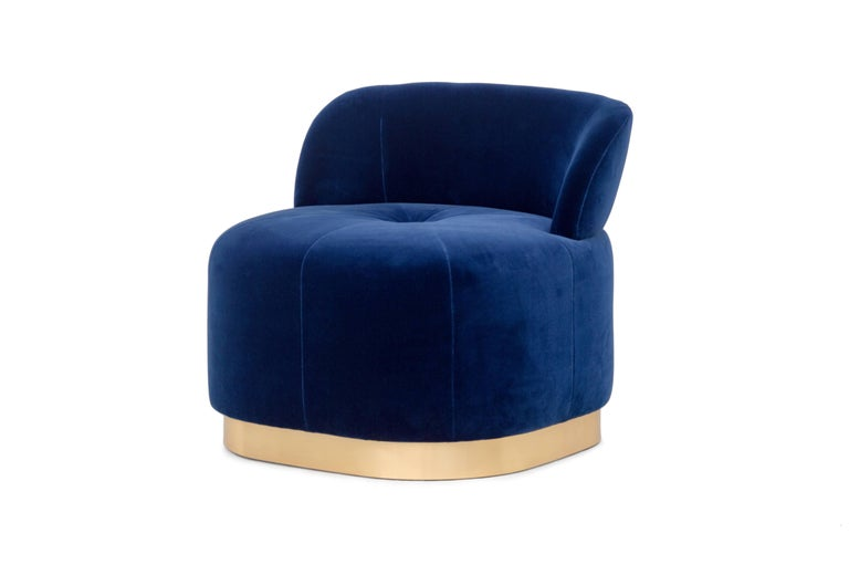 Blue Navy Velvet And Polished Brass Base Accent Chair