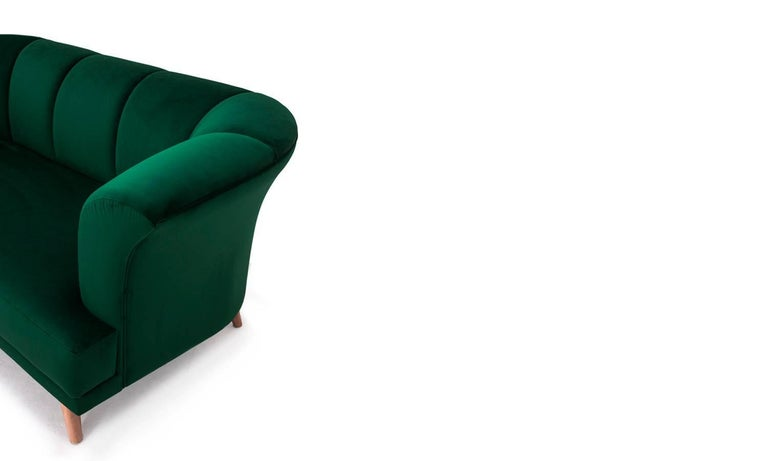 Art Deco Style Emerald Velvet Sofa Martinique In New Condition For Sale In Madrid, ES