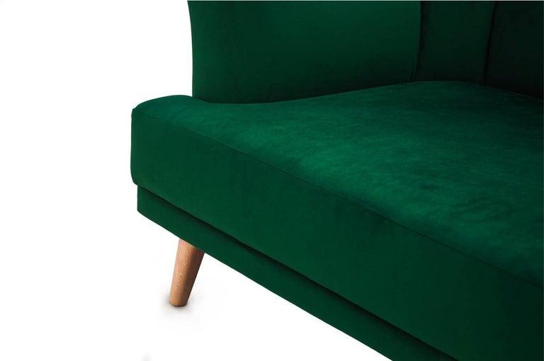 European Art Deco Style Emerald Velvet Sofa Martinique For Sale