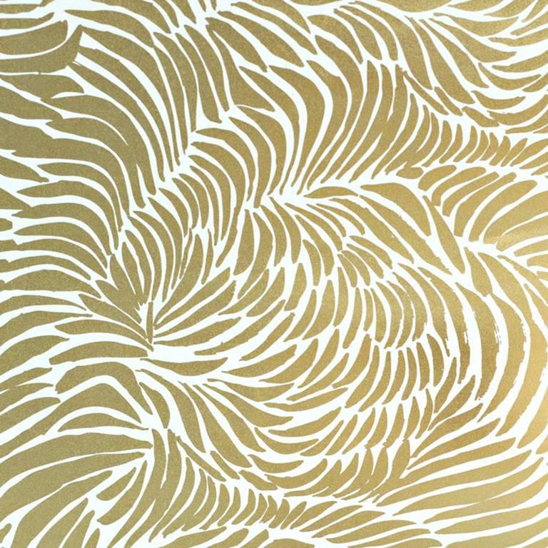 Hand Screened Plume Wallpaper In Rich Gold Colorway