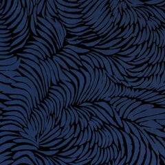Hand-Screened Plume Wallpaper in Midnight Colorway