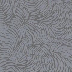 Hand-Screened Plume Wallpaper in Pewter Colorway