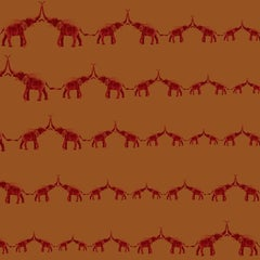 Hand-Screened Baby Elephant Walk Wallpaper in Red Saffron Colorway