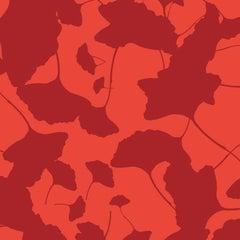 Hand-Screened Maidenhair Wallpaper in Red Velvet Colorway