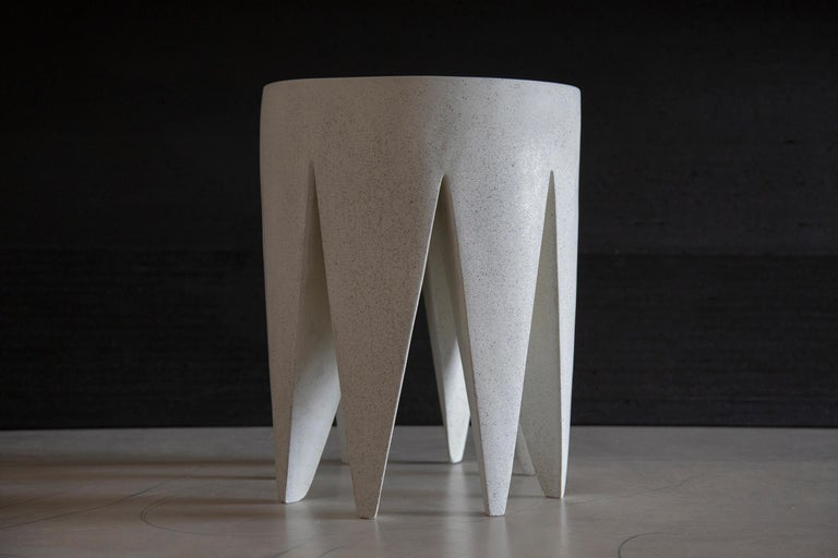 The King Me stool is pictured in our White stone finish. The texture and modern look of concrete make it appropriate for a wide variety of styles and spaces. It is available immediately.  The King Me stool (ZBT216) is 12