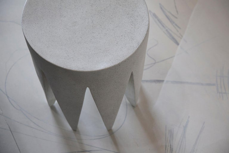 Modern Lightweight Outdoor Side Table in 'White Concrete' finish by Zachary A. Design For Sale