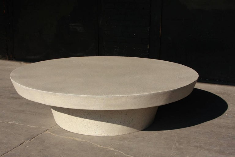 Minimalist Cast Resin 'Cashi' Cocktail Table, White Stone Finish by Zachary A. Design For Sale