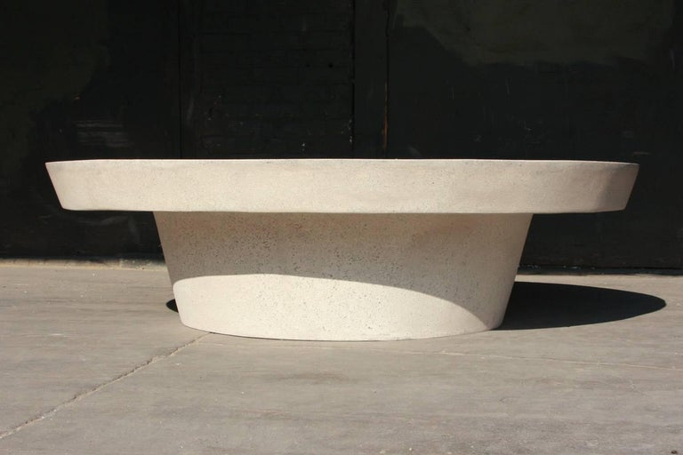 """The Cashi cocktail table is one of our best selling tables. Pictured in our white stone finish, the texture and modern look of concrete make it appropriate for a wide variety of styles and spaces.  The Cashi table (ZBT408) is 60"""" in diameter and"""