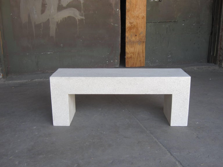 Contemporary Cast Resin 'Aspen' Bench, Natural Concrete finish by Zachary A. Design For Sale
