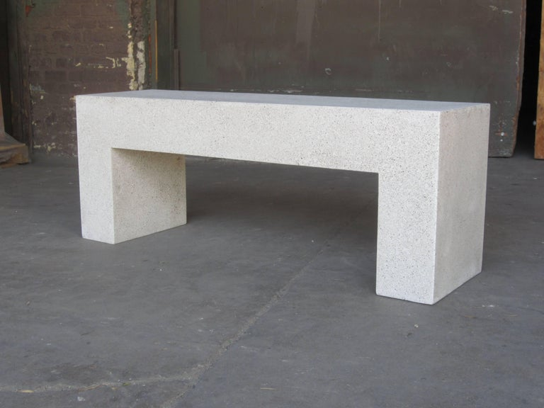 Minimalist Cast Resin 'Aspen' Bench, Natural Concrete finish by Zachary A. Design For Sale