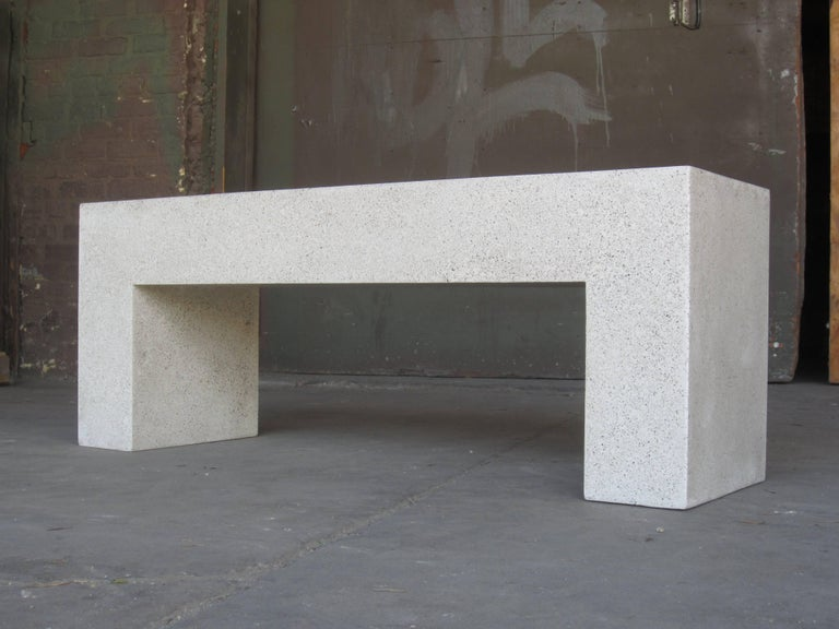 American Cast Resin 'Aspen' Bench, Natural Concrete finish by Zachary A. Design For Sale