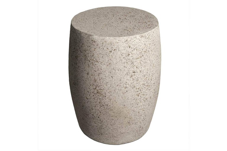 "The Barrel side table can be used as both a stool or side table. Pictured in our Natural Stone finish, the texture and modern look of concrete make it appropriate for a wide variety of styles and spaces.  The Barrel table (ZBT218) is 14"" in diameter"