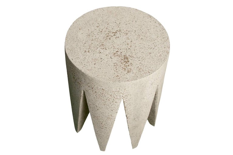 American  Cast Resin 'King Me' Side Table, Natural Stone Finish by Zachary A. Design For Sale