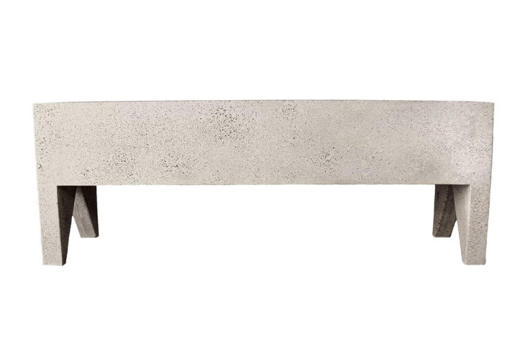 The Farm bench can be used as a standalone bench or as seating for a dining table. Pictured in our natural stone finish, the texture and modern look of concrete make it appropriate for a wide variety of styles and spaces.  The Farm Bench (ZBT301) is