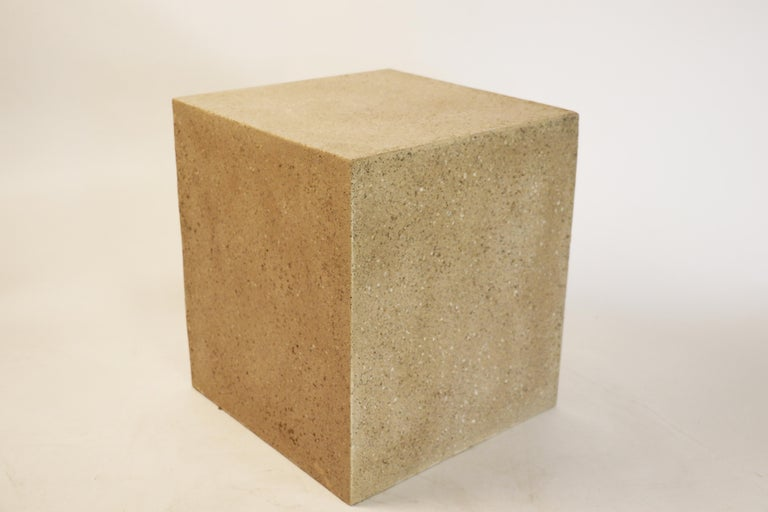 The Square stool can be used as both a stool or side table. Pictured in our Aged Stone finish, the texture and modern look of concrete make it appropriate for a wide variety of styles and spaces.