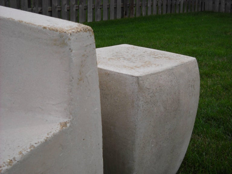 Cast Lightweight Outdoor Side Table in 'Aged Concrete' finish by Zachary A. Design For Sale