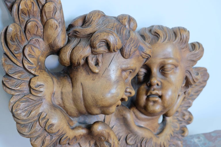 French hand-carved cherubs. Beautiful detail, late 1800s.