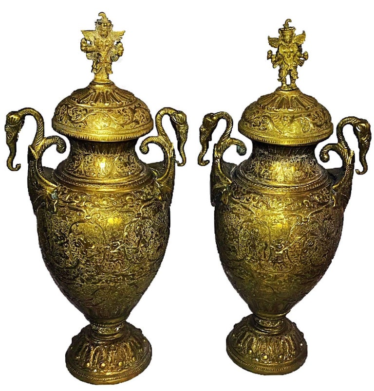 Large Pair of 19th Century Brass Lidded Indian Deity Vase or Urns
