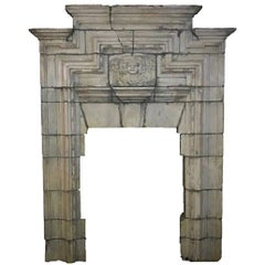 Huge and Unique Hand-Carved Stone Fireplace from a Demolished English Castle