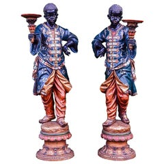 Fine Pair of 19th Century Carved Wood Venetian Blackamoor Torchere Stands