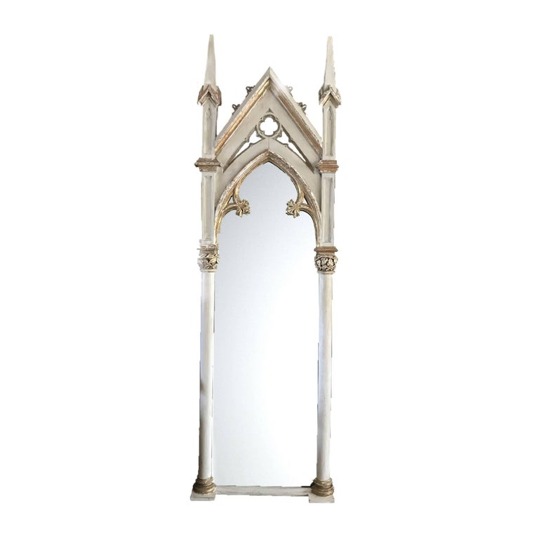 Huge Full Length Early Victorian Gothic Revival Mirror
