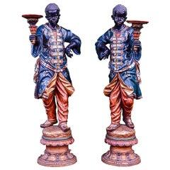 Fine Pair of 19th Century Carved Wood Venetian Blackamoor Torchere Stands