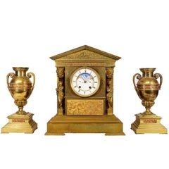 Achille Brocot and Delettrez Neoclassical Perpetual Calendar Clock Garniture Set